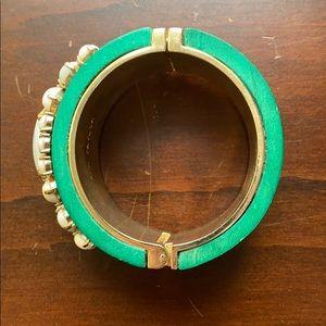 Ann Taylor Jewelry - Ann Taylor Wooden Green Bracelet Cuff w Stones